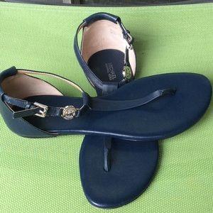Michael Kors navy blue thong sandals